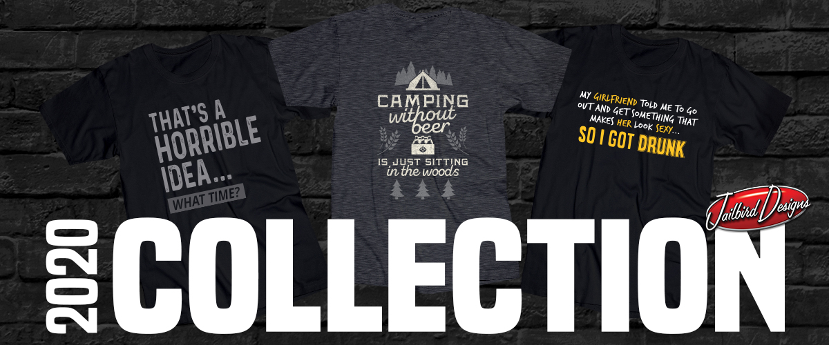 "Photo of three t-shirts with designs. Text reads ""2020 Collection"""