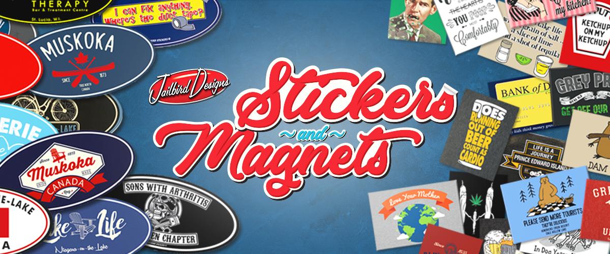 "Photo of Jailbird Designs stickers and magnets. Text reads ""Stickers and Magnets"""